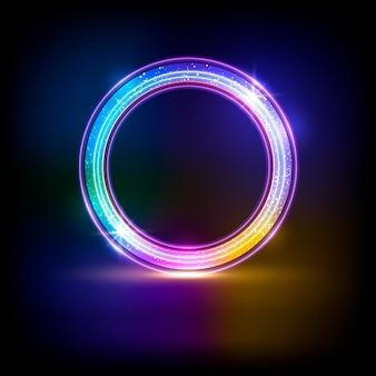 Неоновый круг на темном фоне