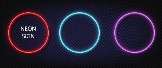 Segno del cerchio al neon. insieme di vettore di colore incandescente quadrato realistico al neon. brillanti led o lampade alogene incorniciano striscioni.