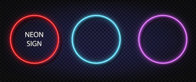 Неоновый знак круга. светящийся цветной векторный набор реалистичных неоновых квадратов. сияющие светодиодные или галогенные лампы обрамляют баннеры.
