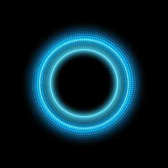 Neon circle with dots light effect on black background. modern round frame with empty space