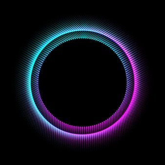 Neon circle with dots light effect on black background.