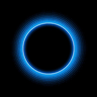 Neon circle with dots light effect on black background