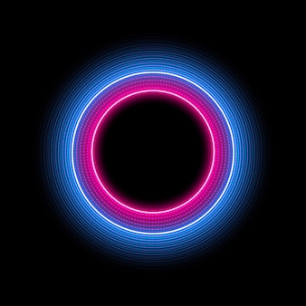 Neon circle with light effect. modern round frame with empty space