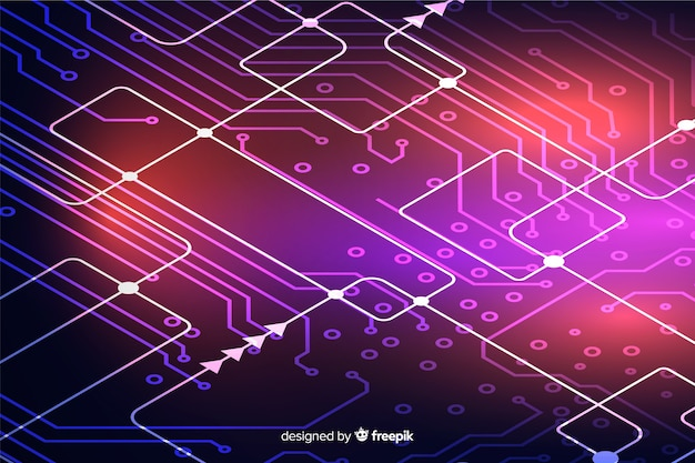 Neon circuit board background Free Vector