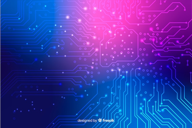 Neon circuit board wallpaper
