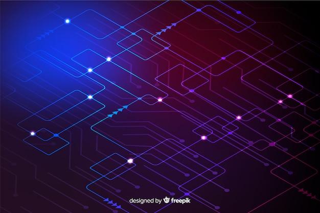 Neon circuit board wallpaper Premium Vector