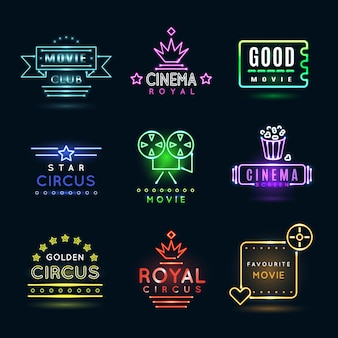 Neon circus and cinema or movie emblems. cinema show, billboard glowing cinema, banner cinema film, circus entertainment emblem illustration