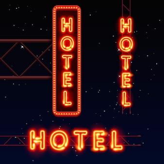 Neon city banner hotel, set vertically horizontally text, vector illustration
