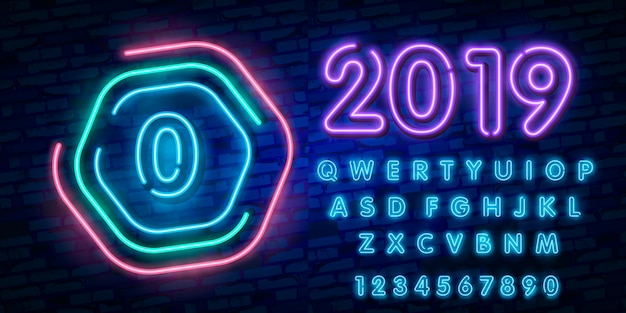 Neon city font sign number 0, signboard zero and neon font typography alphabet