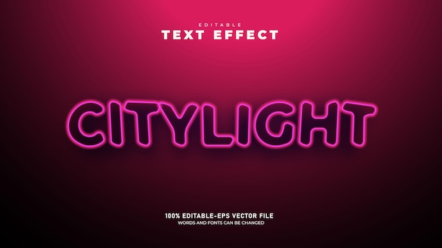 Neon city light editable 3d text effect template premium vector