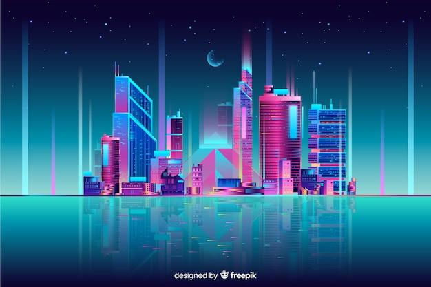 Neon cityscape background