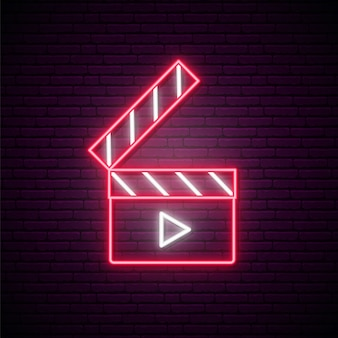 Neon clapperboard sign.