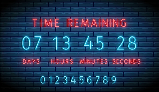 Neon clock counter. countdown timer.  illuminated digital count down.