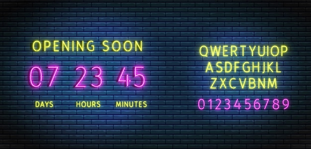 Neon clock counter. countdown timer wiht font.