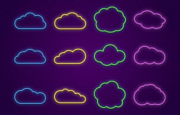 Неоновые облака. линия неоновых речевых пузырей форм