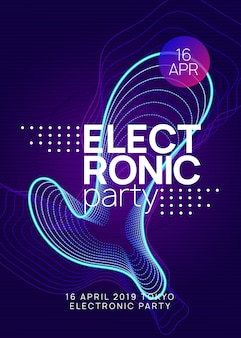 Neon club flyer. electro dance music. trance party dj. electroni