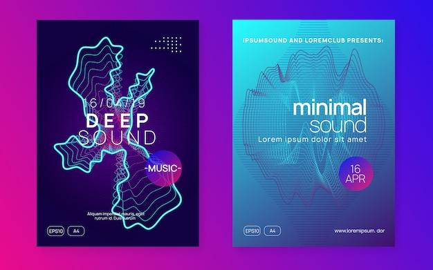 Neon club poster set