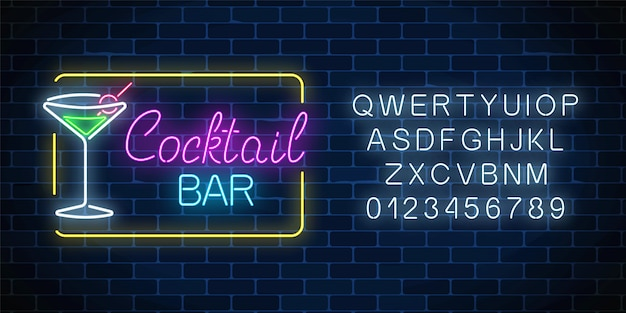Neon cocktail bar and cafe glowing sign with alphabet