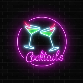 Neon cocktails bar signboard