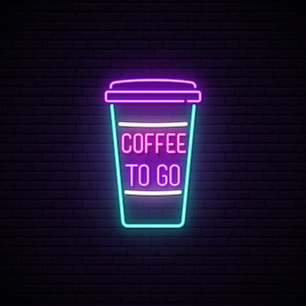 Neon coffee cup sign.