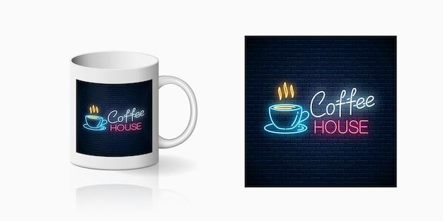 Neon coffee house print on mug
