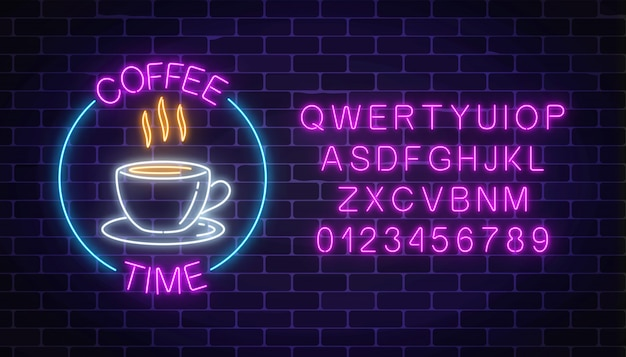 Neon coffee house signboard in circle frame with alphabet on a dark brick wall
