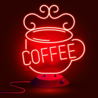 Neon coffee mug on a wall . sign for cafes, restaurants, bars