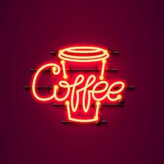 赤の背景にネオンコーヒーテキストアイコン看板。ベクトルイラスト