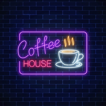 Neon coffee time glowing sign in rectangle frame on a brick wall
