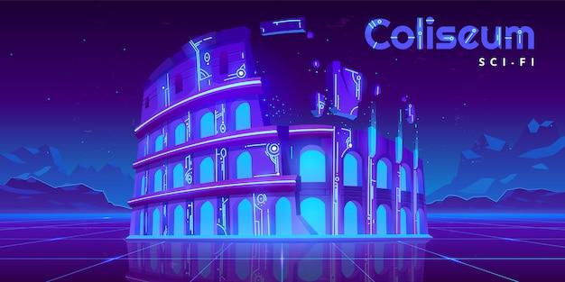 Colosseo al neon su sfondo incandescente di fantascienza retrò