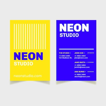 Neon color for business card concept