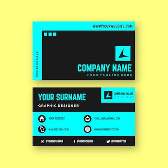 Neon color business card design