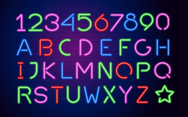 Neon color glowing capital letters and numbers