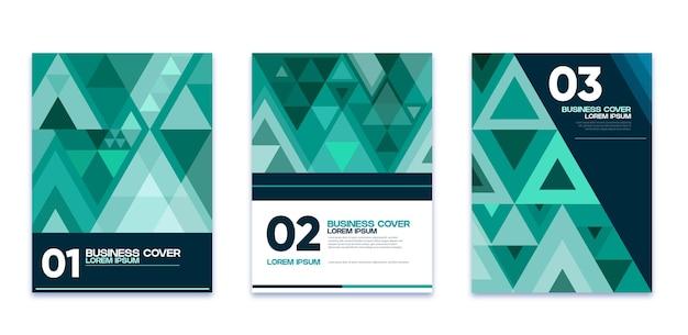 네온 컬러 기하학적 비즈니스 커버 컬렉션