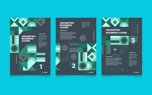 Коллекция неоновых геометрических бизнес-обложек