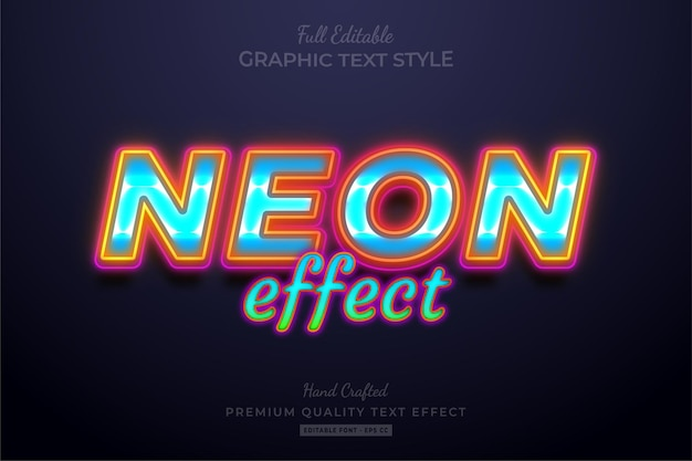 Neon colorful editable premium text effect font style