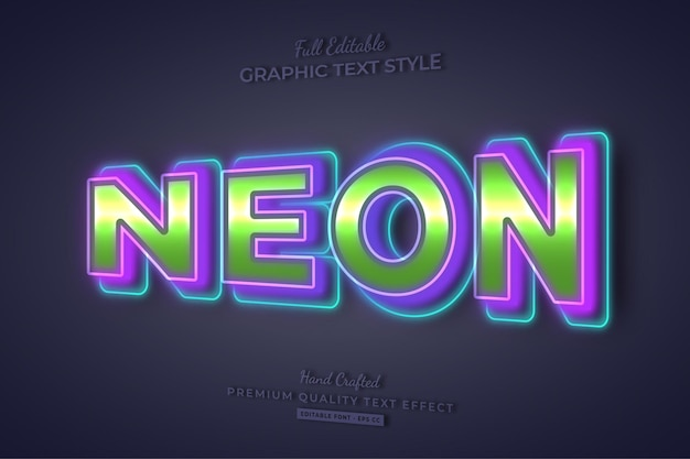 Neon colorful editable text effect font style