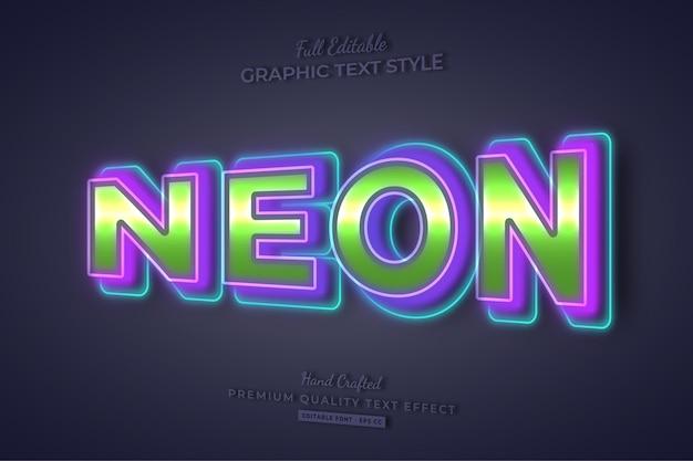 네온 다채로운 편집 가능한 텍스트 효과 글꼴 스타일