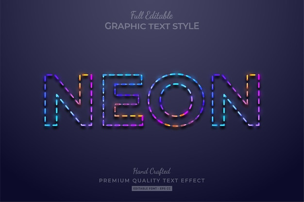 Neon colorful gradient editable text effect font style