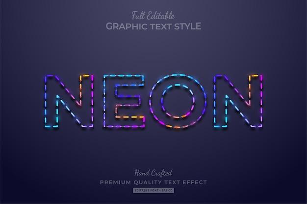 네온 다채로운 그라디언트 편집 가능한 텍스트 효과 글꼴 스타일
