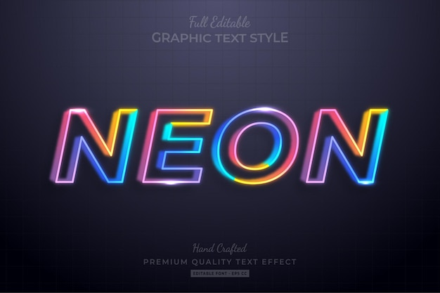 Neon colorful line editable text effect font style
