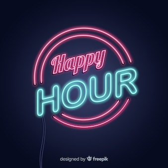 Neon colorful sign happy hour