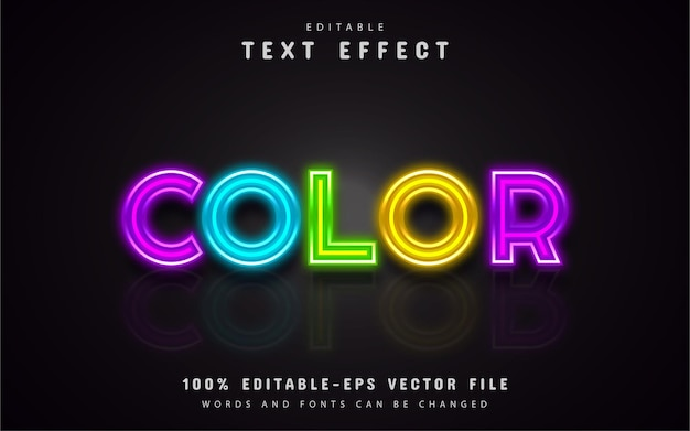 Neon colorful text effect