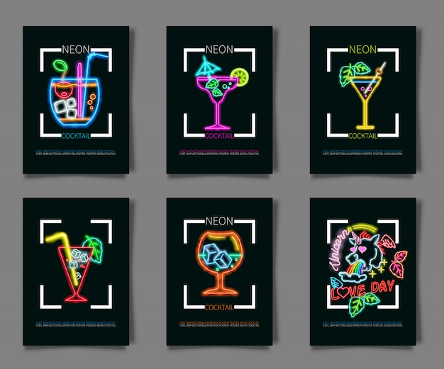 Neon colors on a black background cocktail party illustration.