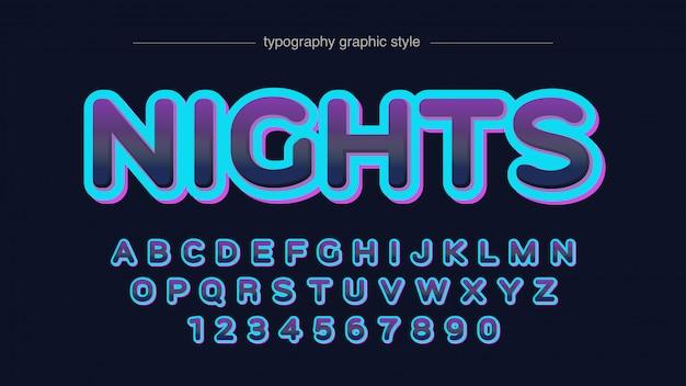 Неоновые цвета округлые футуристическая типография