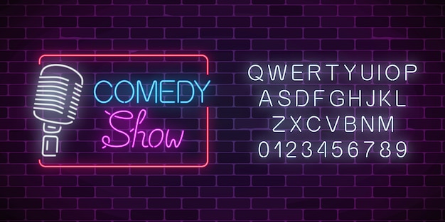 Neon comedy show sign with retro microphone and alphabet