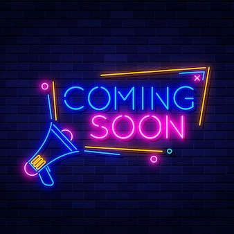 Neon coming soon background with megaphone