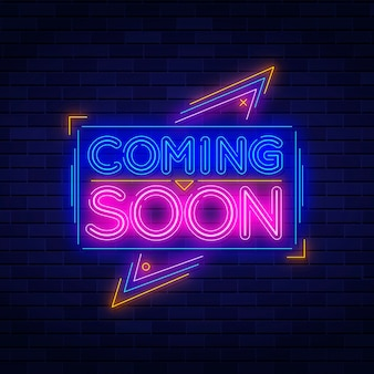 Neon coming soon sign background Premium Vector