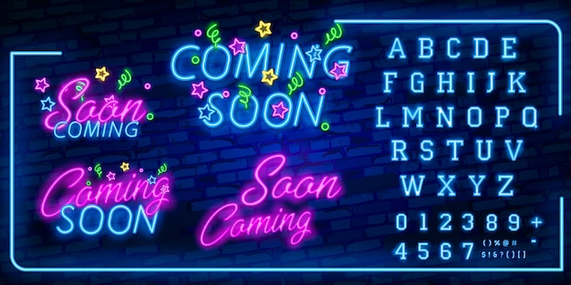 Neon coming soon sign