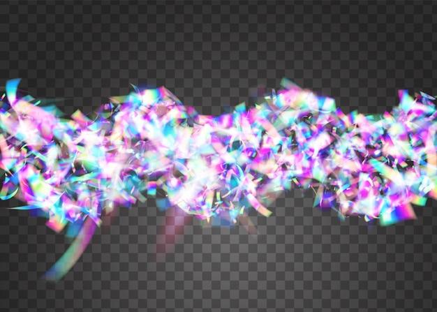 네온 색종이 조각. 생일 반짝. 레트로 축 하 템플릿입니다. 유니콘 아트. 글래머 포일. 파티 디자인. 가벼운 질감. 보라색 디스코 글레어. 핑크 네온 색종이